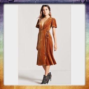 Velvet Marigold Wrap Dress
